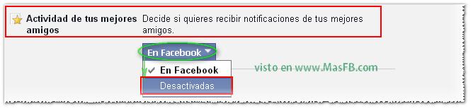 Desactivar notificaciones de los amigos en fb - MasFB