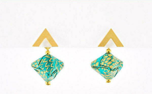 turquoise and gold paper origami earrings