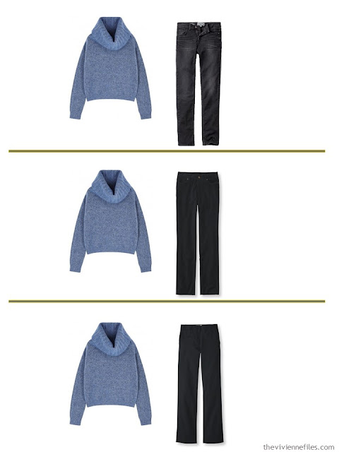3 ways to wear a muted blue sweater with A Common Wardrobe