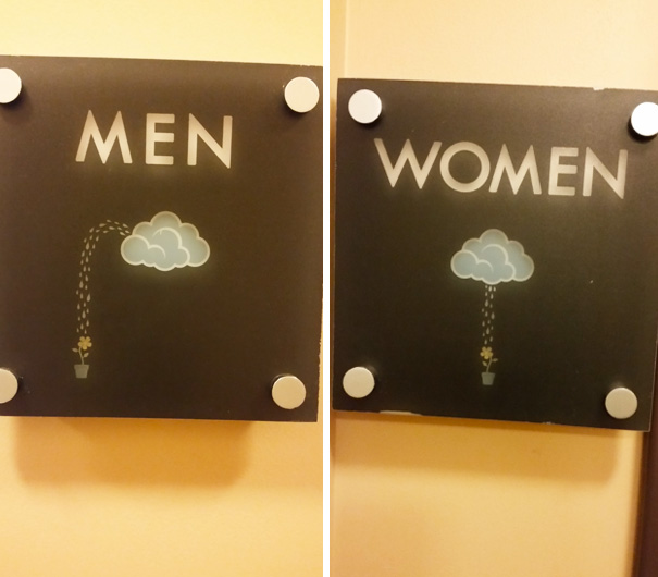 Rain bathroom signs