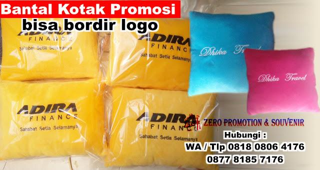 Jual Souvenir Bantal Kotak Promosi bisa bordir logo