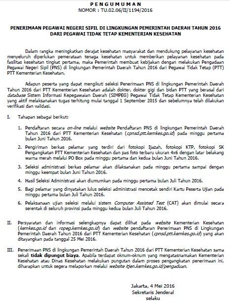 Penerimaan CPNS Kementerian Kesehatan Tahun 2016 Dari PTT
