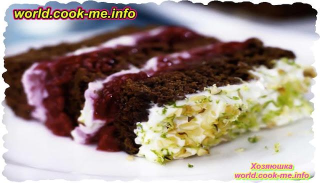 Шоколадно-малиновый торт с сыром