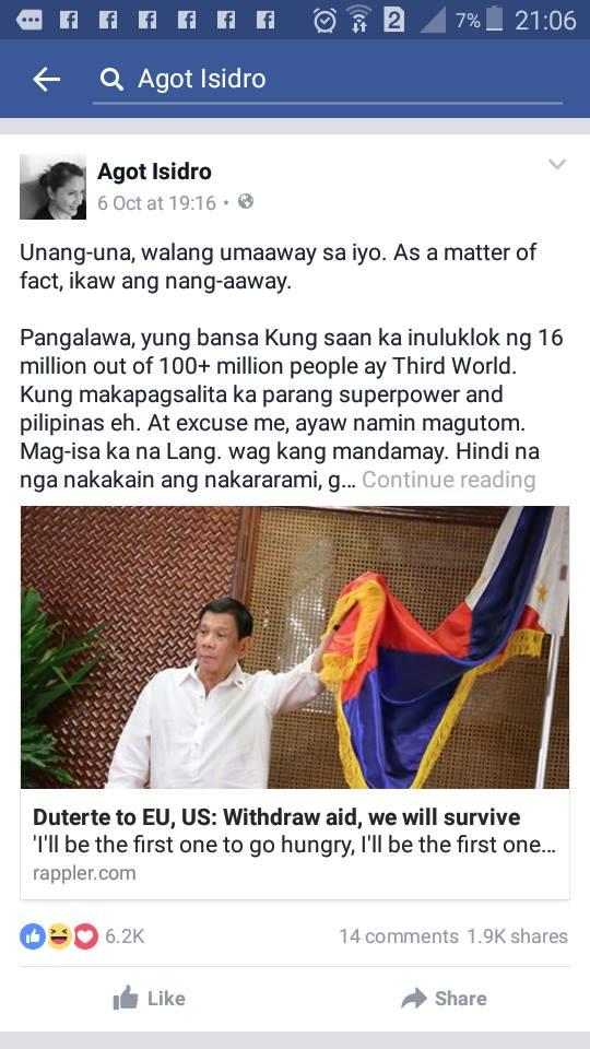 "Agot Isidro Criticizes Duterte's Leadership Style: ""Walang nangaaway sayo, ikaw ang umaaway. YOU ARE A PSYCHOPATH!"""