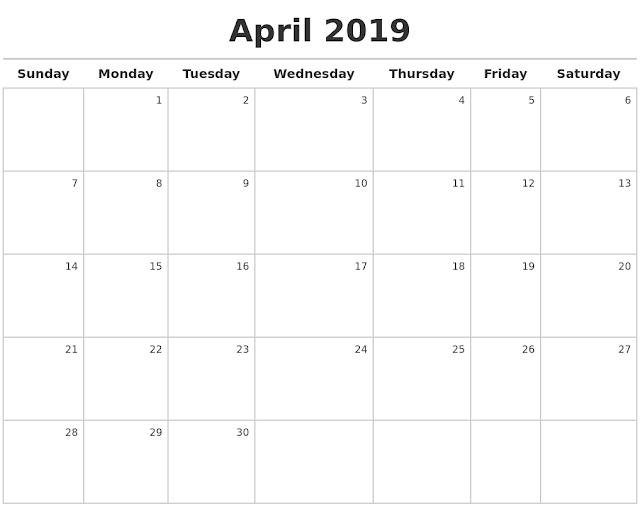 April 2019 Printable Calendar, April 2019 Calendar, April 2019 Calendar Template, Blank April 2019 Calendar, Free April 2019 Calendar, April 2019 Calendar Print, April 2019 Calendar PDF, April 2019 Calendar Holidays, April Calendar 2019