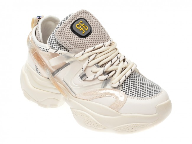 Pantofi sport FLAVIA PASSINI albi, cu platforma , din material textil si piele naturala