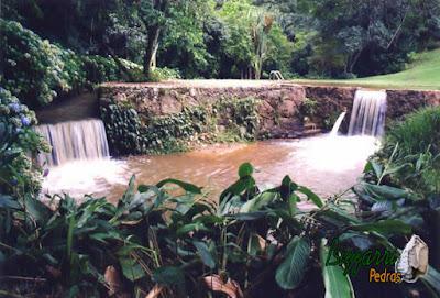 Construção da piscina natural com parede de pedra rústica com os muros de pedra com a ducha da piscina e a execução do paisagismo natural.