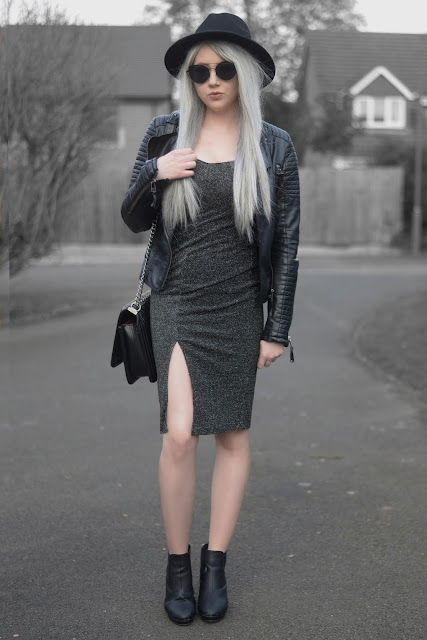 Sammi Jackson - Primark Fedora / Zaful Sunglasses / Shein Biker Jacket / Everything5pounds Sparkly Dress  / OASAP Quilted Flap Bag / Office Chunky Ankle Boots
