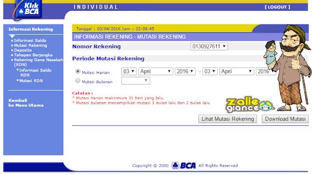 Cara Cek Transaksi Rekening BCA via Internet Banking