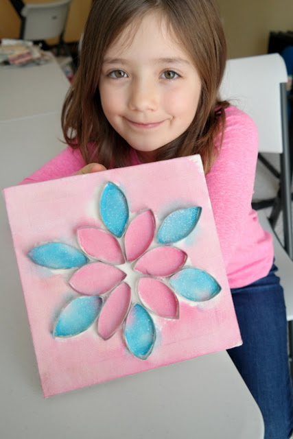 Pink and Blue Snowflake Paper Roll Canvas by Scarlett Tatar
