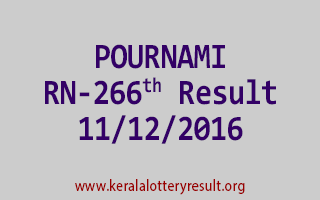 POURNAMI RN 266 Lottery Results 11-12-2016