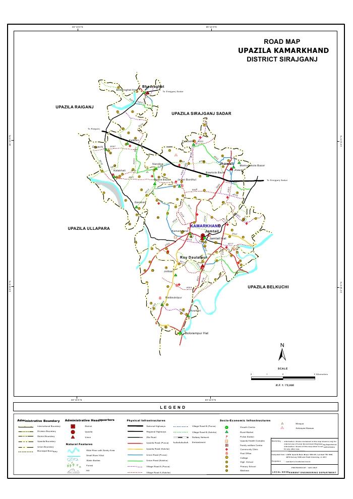 Kamarkhand Upazila Road Map Sirajganj District Bangladesh