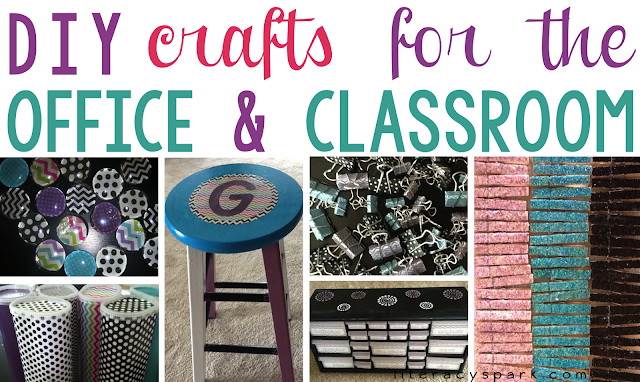 Check out these easy DIY crafts for your office or classroom.   Find some tips and tricks for making glitter clothespins and magnets, scrapbook paper magnets and Crystal Light containers, glitter magnets, and washi tape binder clips.  Learn from my mistakes when making a customizable painted teacher stool and toolbox.  These simple crafts would also make great gifts for teachers, friends, moms, or coworkers.