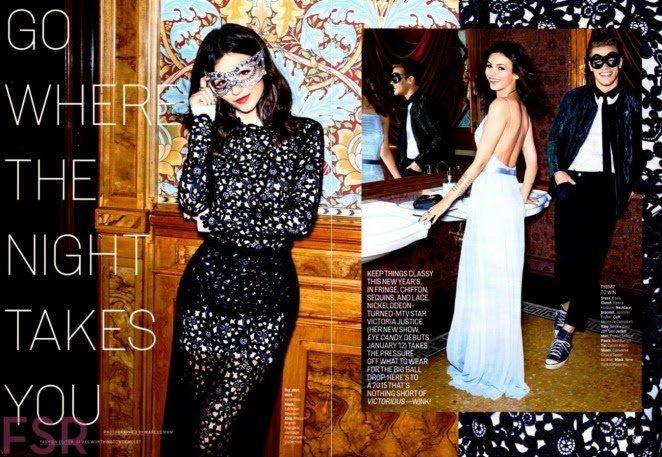 Victoria Justice wears party looks for Cosmopolitan US January 2015