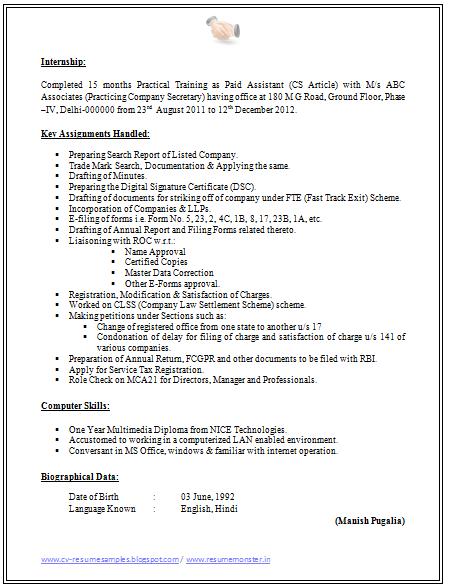Resume Format For Fresher Company Secretary – Secretary Resume Format