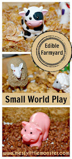 Edible farmyard small world play in a tray.  Taste safe farm animal activity for babies, toddlers, preschoolers, eyfs.