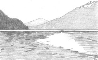 sketch of Skagway flats when it was Skagua
