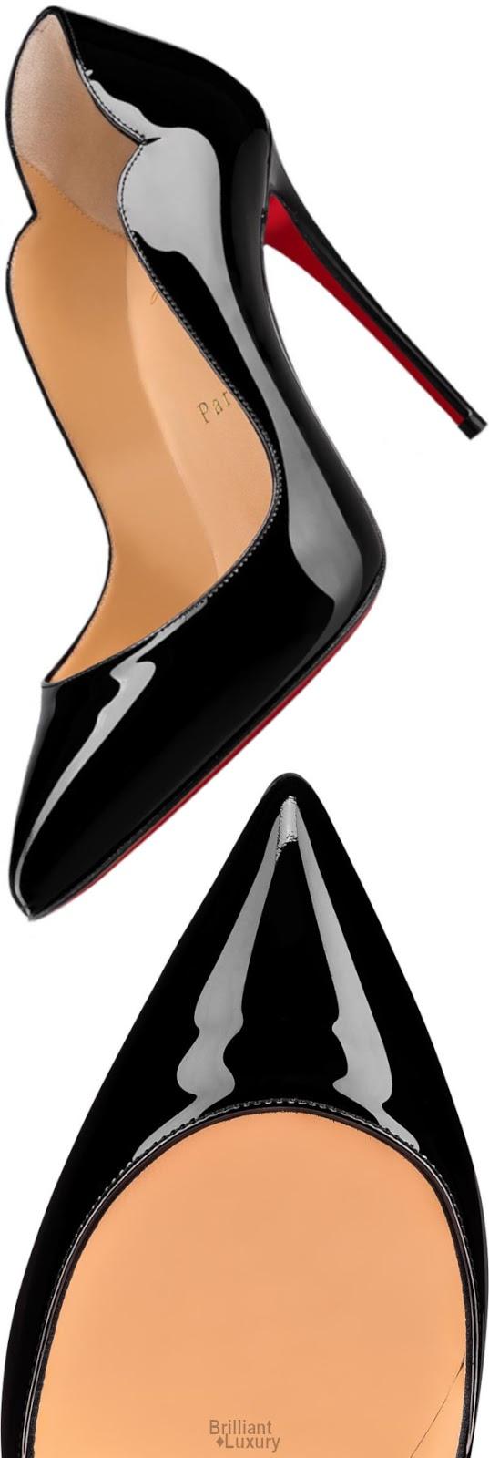 Brilliant Luxury♦Christian Louboutin Hot Chick Vernis Black Patent Leather Stiletto Pump