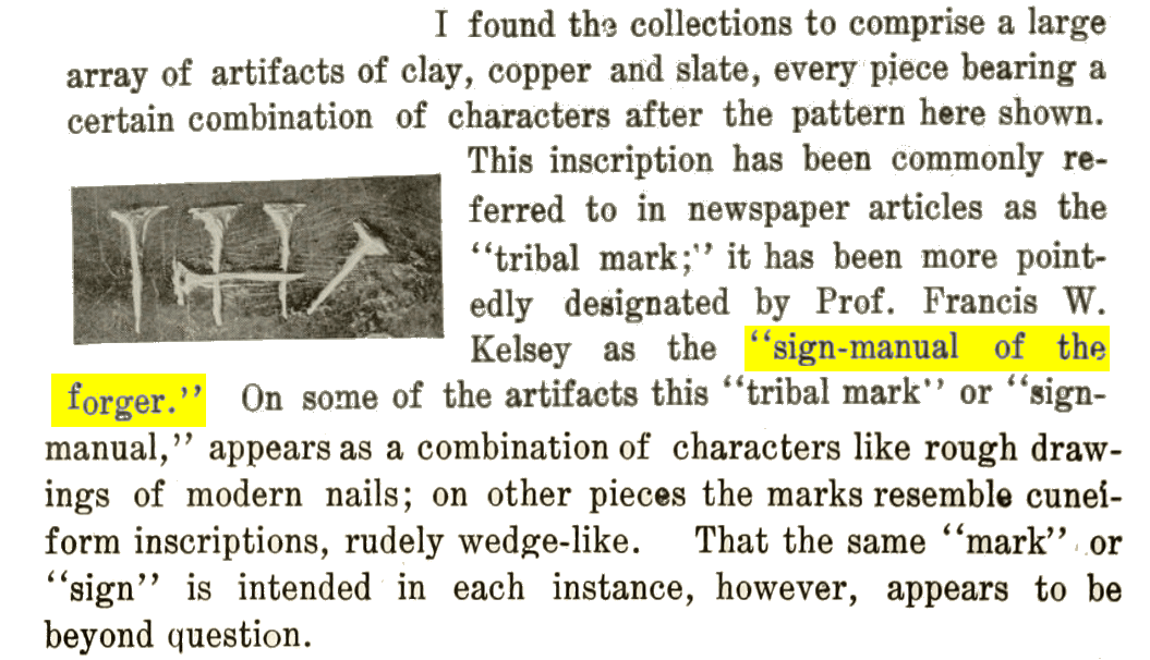 James E. Talmage called the Mystic Symbol of the Michigan Relics 'the sign-manual of the forger