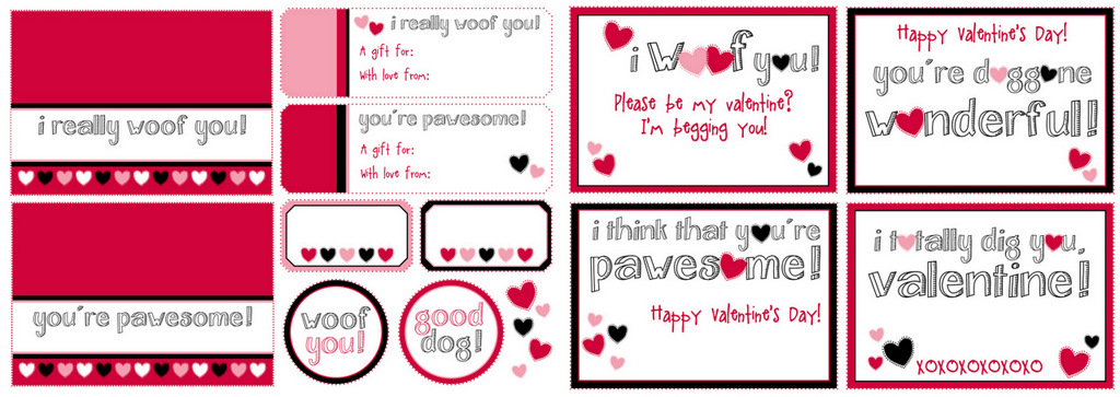 Red And Black Printable Dog Treat Tags/Labels {HERE} | Dog Valentine Cards  {HERE}