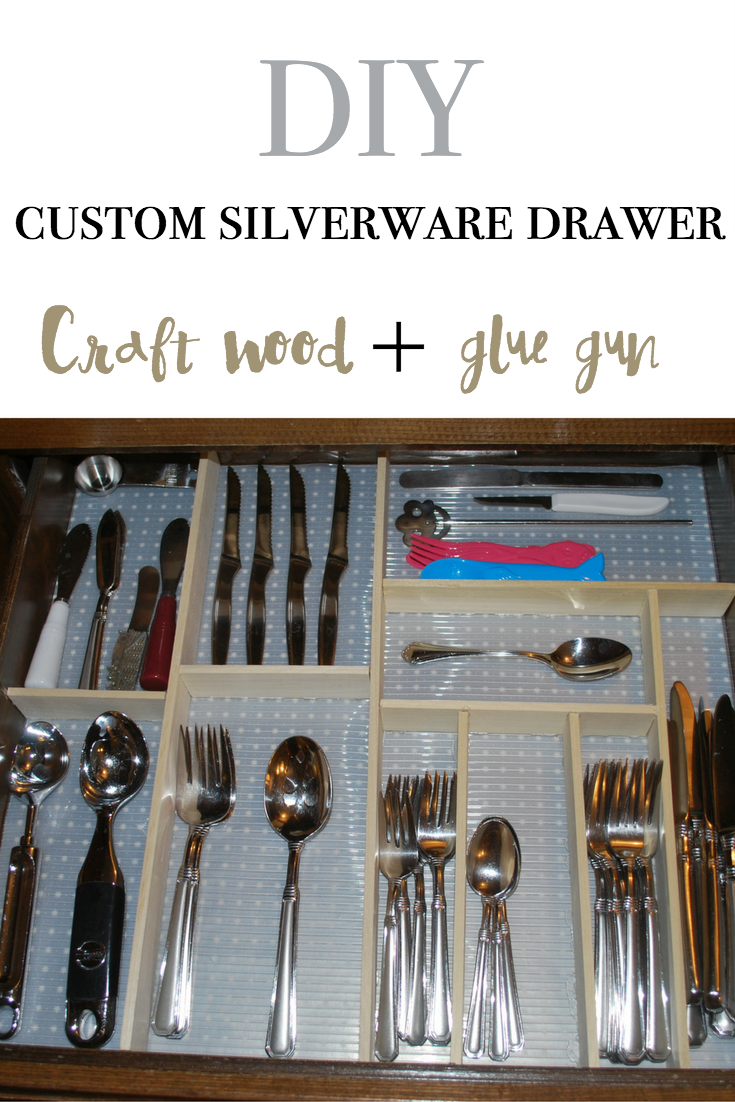 DIY a silverware drawer with craft wood and hot glue! Best kitchen organizing hack ever!!!