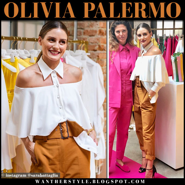 Olivia Palermo in white off shoulder collar shirt and mustard pants sara battaglia fashion week outfits september 20