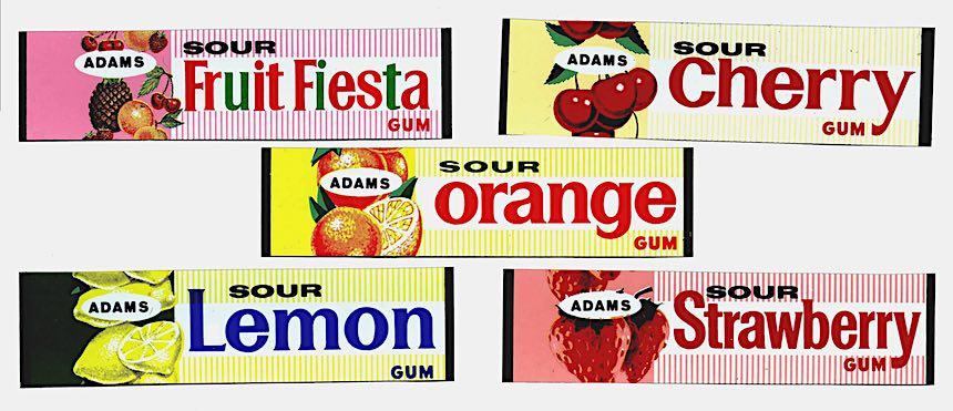 Adams chewing gum 1960s, Fruit Fiesta, sour cherry, sour orange, sour lemon, sour strawberry
