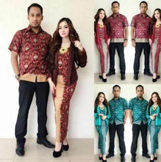 Contoh baju muslim batik keluarga seragam modern