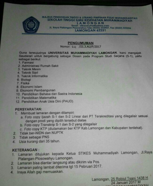 Lowongan Kerja Dosen Universitas Muhammadiyah Lamongan Terbaru