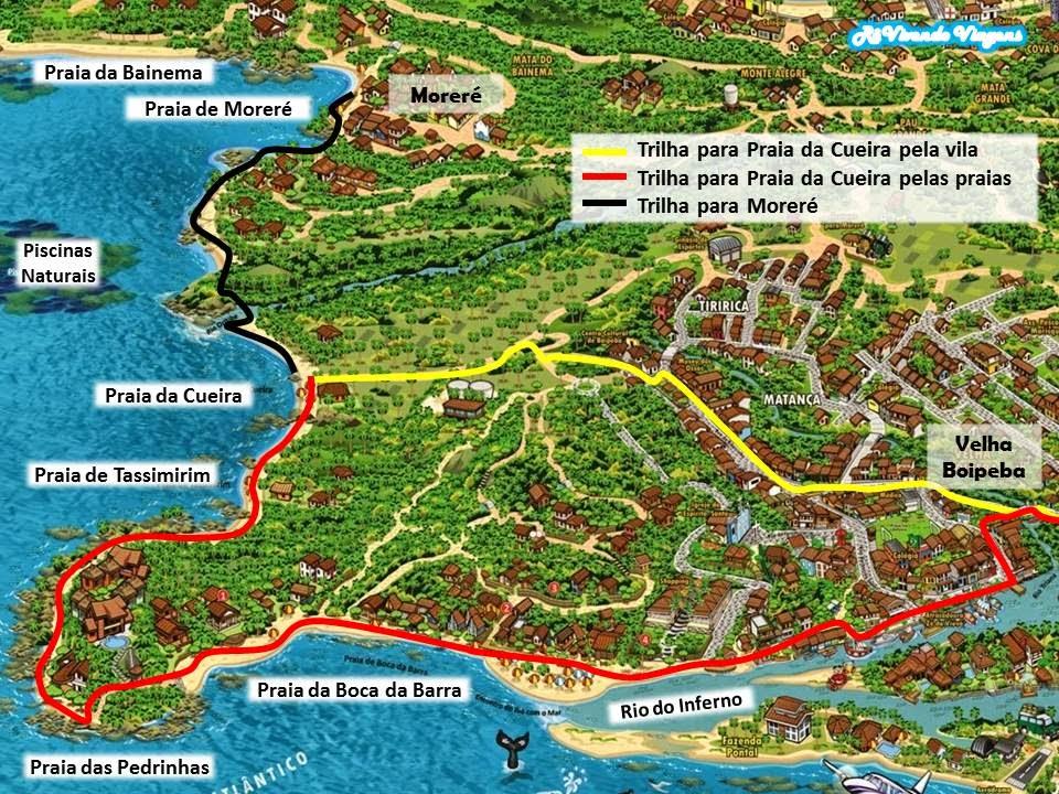 Mapa das praias de Boipeba