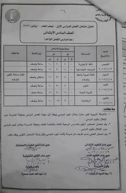 جدول امتحانات الصف السادس الابتدائي 2017 الترم الأول محافظة المنوفية