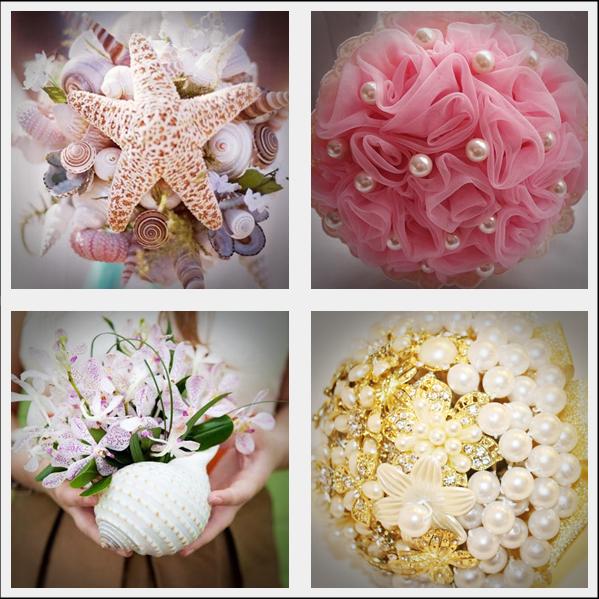 Bouquets com pérolas e conchas