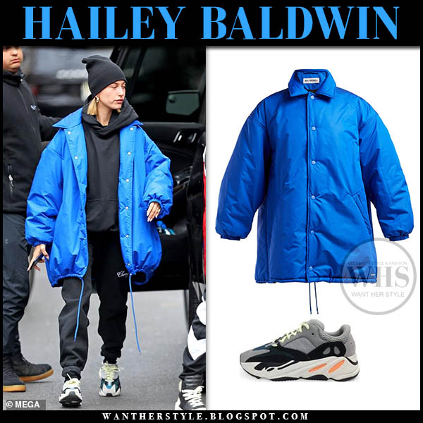 Hailey Baldwin in blue oversized balenciaga jacket, black pants and adidas yeezy sneakers winter street style january 28
