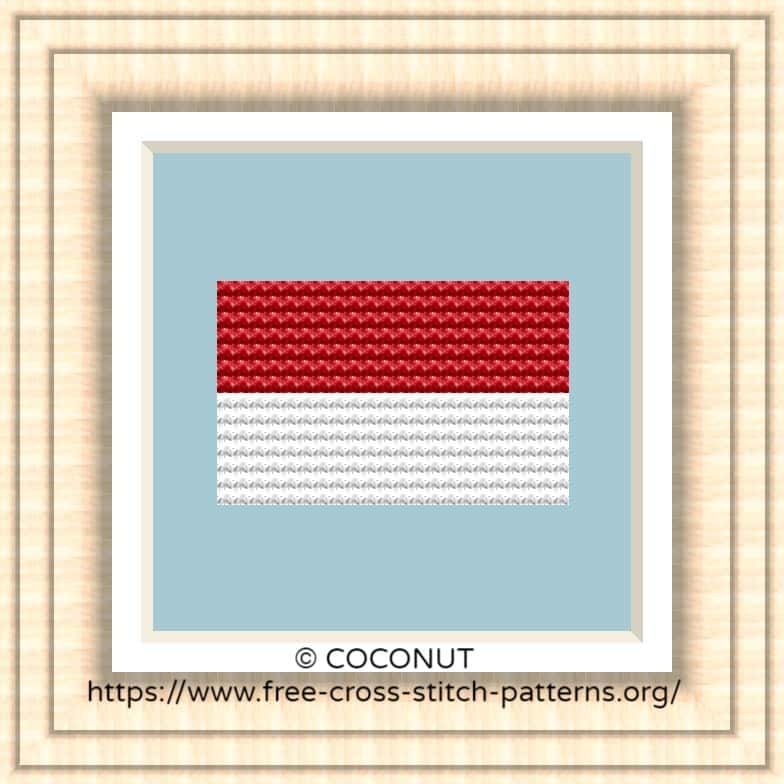 NATIONAL FLAG OF INDONESIA CROSS STITCH CHART