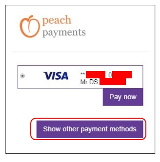 Add new card by clicking Show Other Payment Methods - Peach Payments - Deposit Method - Hollywoodbets