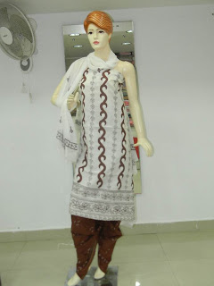 Lucknowi Chikan White Brown Cotton Dress Material