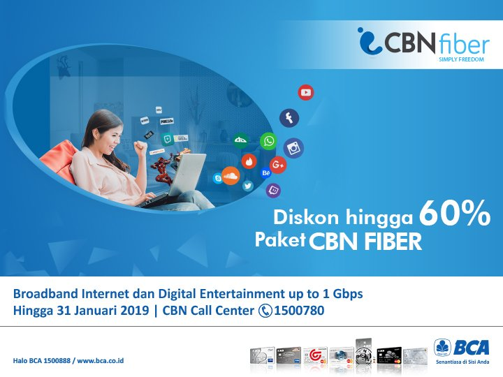 Bank BCA - Promo Diskon s.d 60% Paket CBN Fiber (s.d 31 Jan 2019)