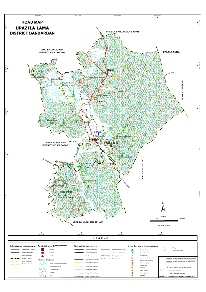 Lama Upazila Road Map Bandarban District Bangladesh
