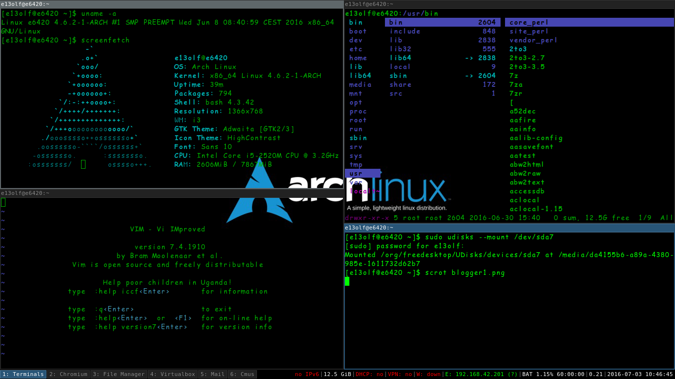 arch linux install i3