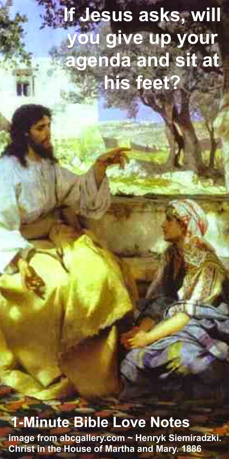 mary and martha, Luke 10, sitting at Jesus feet