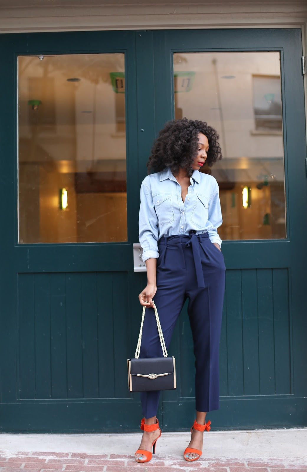 How to wear topshop denim shirt for work