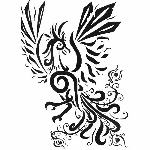 Phoenix with vine tattoo stencil