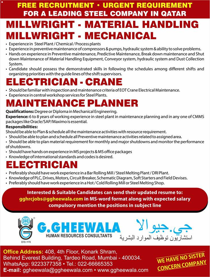 Free Recruitment For Qatar For a leading Steel Company