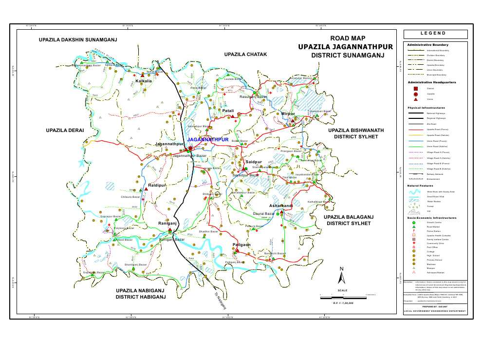Jagannathpur Upazila Road Map Sunamganj District Bangladesh