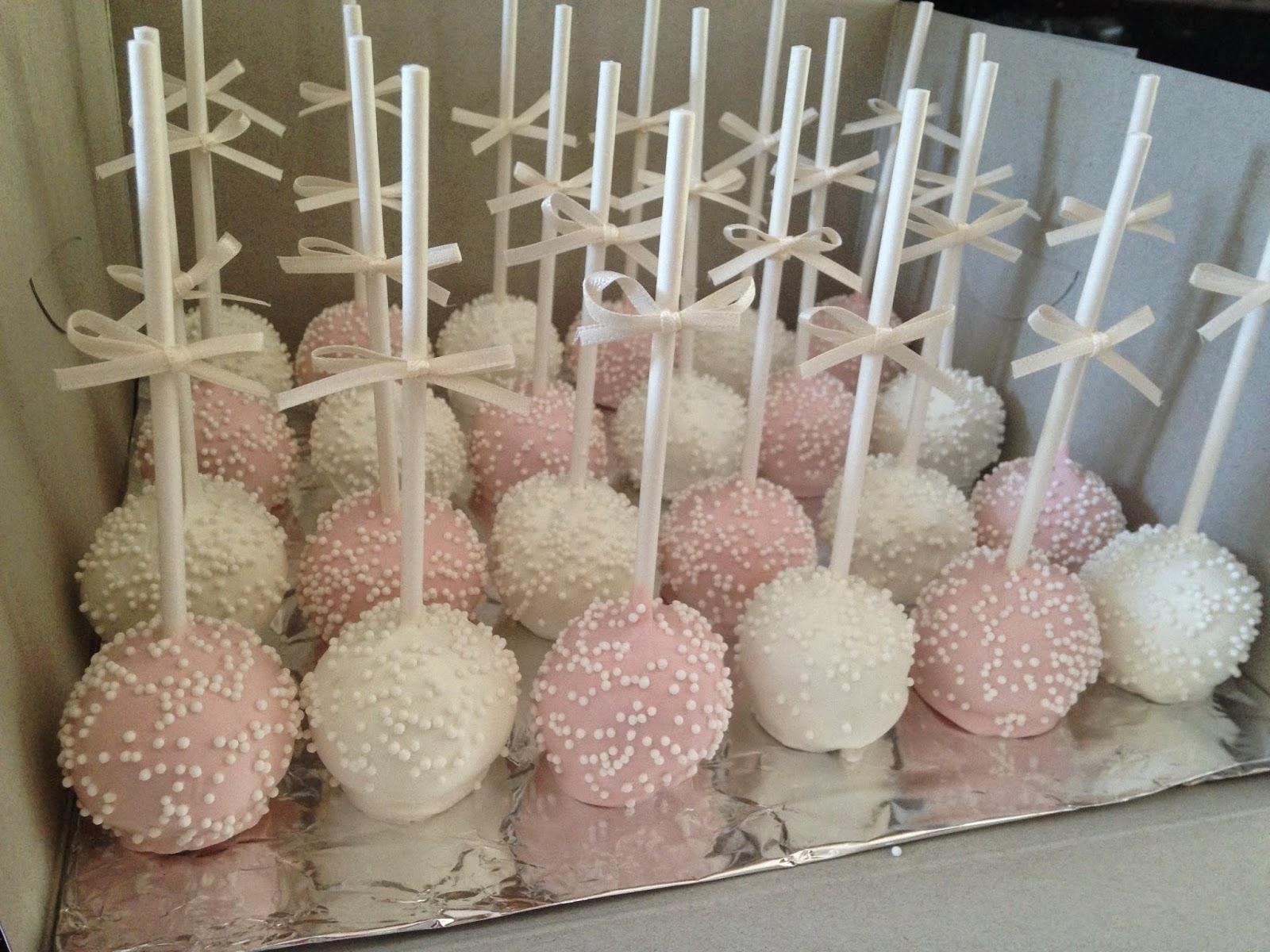 Joyce Gourmet Light Pink Amp White Bridal Shower Cake Pops