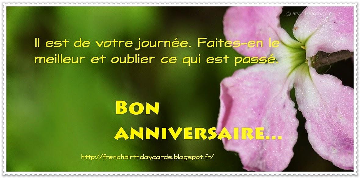 journée, meilleur., oublier, passé, Joyeux anniversaire, French Birthday Card,