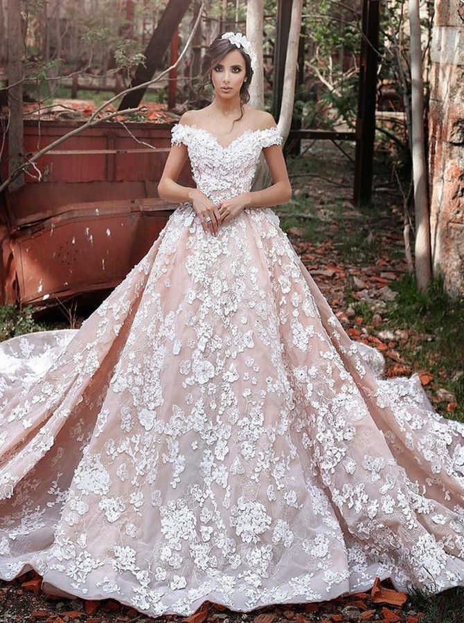 https://www.simple-dress.com/luxurious-off-shoulder-watteau-train-short-sleeves-organza-wedding-dress-with-lace.html