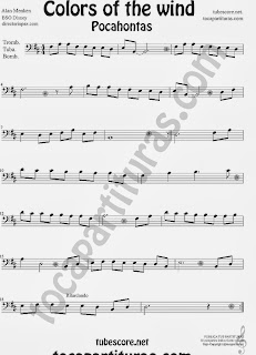 Colores en el Viento Partitura de Pocahontas para Trombón, Tuba y Bombardino. Partitura de Color in the Wind Pocahontas sheet music Trombone, Tube and Euphonium (Music score). ¡Para tocar junto a la música!