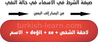 صيغة الشرط في الاسماء في حالة النفي في اللغة التركية