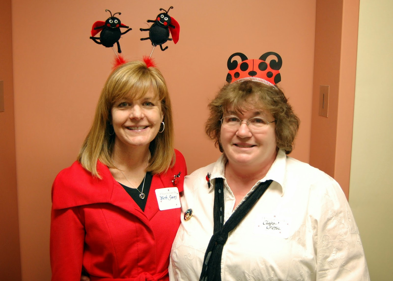 Good sports for Ladybug spots! Beth Simons on the left and Claire Griffin on the right